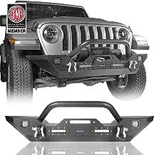 Hooke Road Jeep JL Solid Steel Front Bumper w/Winch Plate & 4X 18W LED Lights for 2018 2019 2020 Jeep Wrangler JL Sahara Rubicon Sport Sport S 2/4 Doors