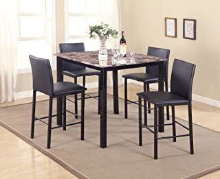 Roundhill Furniture 5 Piece Citico Counter Height Dining Set with Laminated Faux Marble Top