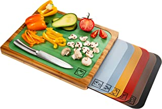 Seville Classics Bamboo Eco-Conscious Cutting Board w/ Color-Coded Mats BPA-Free Plastic for Kitchen Bread, Fish, Poultry,...