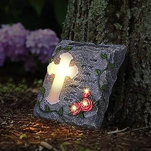 MXwcy Garden Memorial Stepping Stone,The Cross, Solar LED Lights Outdoor Waterproof, A Touching Souvenir Gift - Condolence Gifts Garden Decoration