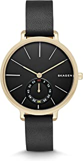 Women's Hagen Watch in Goldtone with Black Leather Strap and Black Dial