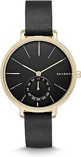 Skagen Women's Hagen Leather Watch, Color: Black, Gold, 12 (Model: SKW2354)