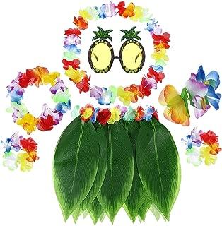 7 Piece Boys Girls Hawaiian Flowers Leaf Grass Skirts Ti Leaf Hula Skirt Hairclip Sunglasses Garland Costume Set (Color A)