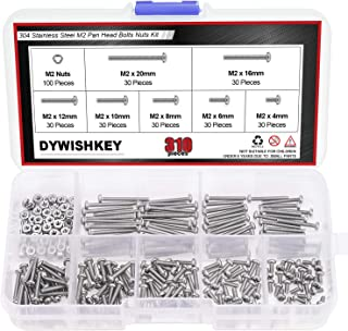 DYWISHKEY 310 Pieces M2 x 4mm/6mm/8mm/10mm/12mm/16mm/20mm, Stainless Steel 304 Phillips Pan Head Cap Bolts Screws Nuts Kit