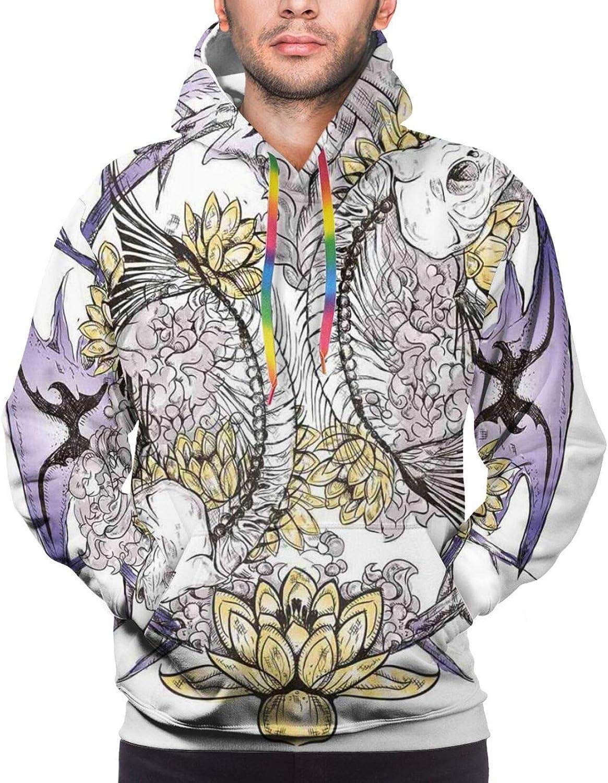 TENJONE Men's Hoodies Sweatshirts,Pinwheel Designs with Dark Toned Backdrop Abstract Pattern Star Motifs