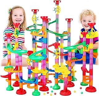 Tebrcon 218個 ビーズコースター 知育玩具 スロープ ルーピング セット 子供 組み立 ブロック DIY 積み木 男の子 女の子 誕生日のプレゼント ビー玉転がし おもちゃ 立体パズル