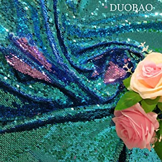 DUOBAO Sequin Fabric Reversible Sequin Fabric by The Yard Turquoise to Lavender Mermaid Sequin Fabric Sequince Material Sequin Fabric Backdrop for Pictures