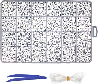 Trasfit 1600 Pieces Alphabetical Packing White Round A-Z Letter Beads with Tweezers and Elastic Ropes for Jewelry Making, Kids Jewelry