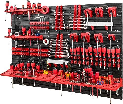 Mur à outils - 1152 x 780 mm - Set de supports à outils avec panneau perforé - Système de rangement mural - Étagère m...