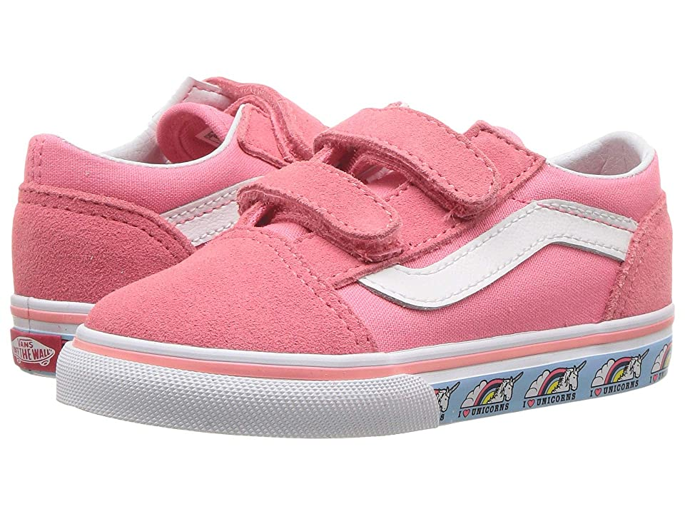 Vans Kids Old Skool V (Toddler) ((Unicorn) Strawberry Pink/True White) Girls Shoes