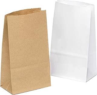 100 piezas Bolsas de Papel Regalo 9 x 16 x 5 cm - Bolsa Biodegradable Regalos Comunión para Invitados o para Guardar Comida, Semillas Flores, Dulces, Chuches, Pan - Bolsitas Kraft Marrón/Blanco
