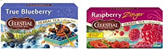 Celestial Seasonings Herbal Tea, True Blueberry, 20 Count Box (Pack of 6) & Raspberry Zinger Herbal Tea, 20 Count (Pack of 6)