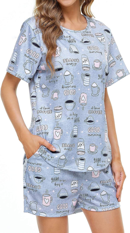 Lu's Chic Women's San Francisco Mall Cute Pajama Raleigh Mall Set Sleeve Short Piece Pjs Sleep 2