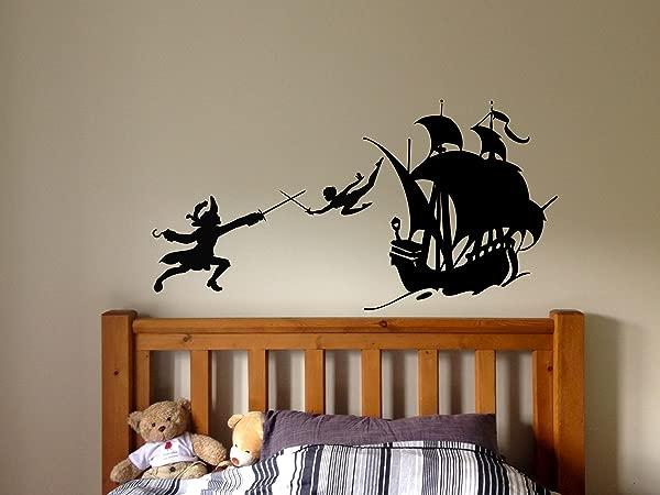 Peter Pan Cartoon Never Grow Up Wall Decal Sticker Ship Pirate Kids Children Boys Nursery Bedroom 1523b