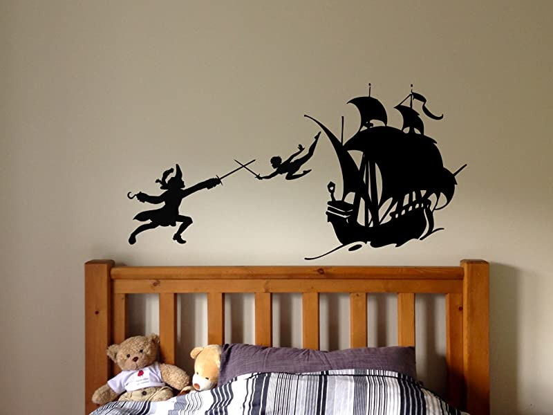 Peter Pan Cartoon Never Grow Up Wall Decal Sticker Ship Pirate Kids Children Boys Nursery Bedroom 1523b