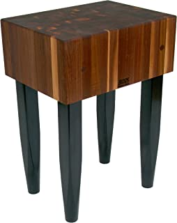 John Boos Block Walnut Wood End Grain Solid Butcher Block Table with Side Knife Slot, 24 Inches x 18 Inches x 10 Inch Top, 34 Inches Tall, Black Legs