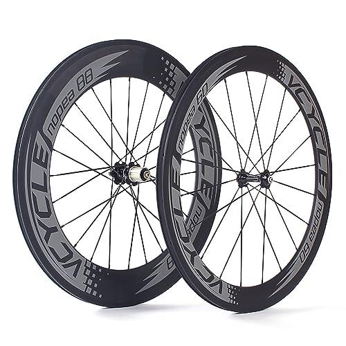 VCYCLE Nopea 700C Carretera Bicicleta Carbono Juego de Ruedas Remachador Delantera 60mm Trasero 88mm Shimano o
