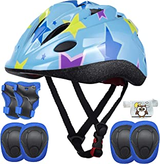 Kids Helmet Adjustable with Sports Protective Gear Set Knee Elbow Wrist Pads for Toddler Ages 4 to 10 Years Old Boys Girls...