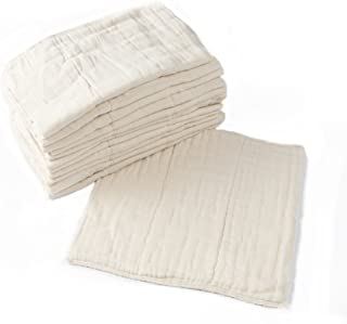 Prefold Cloth Diapers - 12 Pack - Unbleached Premium Cotton, Pre-Washed, Fits Newborn Babies to Toddlers (10-30 lbs), Mult...