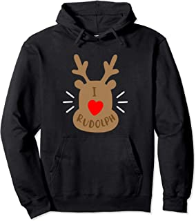 Rudolph Reindeer Ugly Christmas Party Gift I Love Rudolph Pullover Hoodie