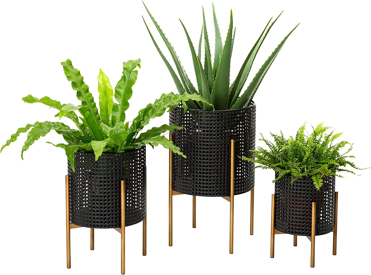 Glitzhome 3 Set Modern Metal Max 54% OFF with Year-end annual account Planter Floor Stand Flowe