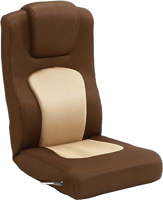 タマリビング(Tamaliving) コローリ 座椅子 無段階リクライニング ハイバック ベージュ/ブラウン [完成品] 50000204