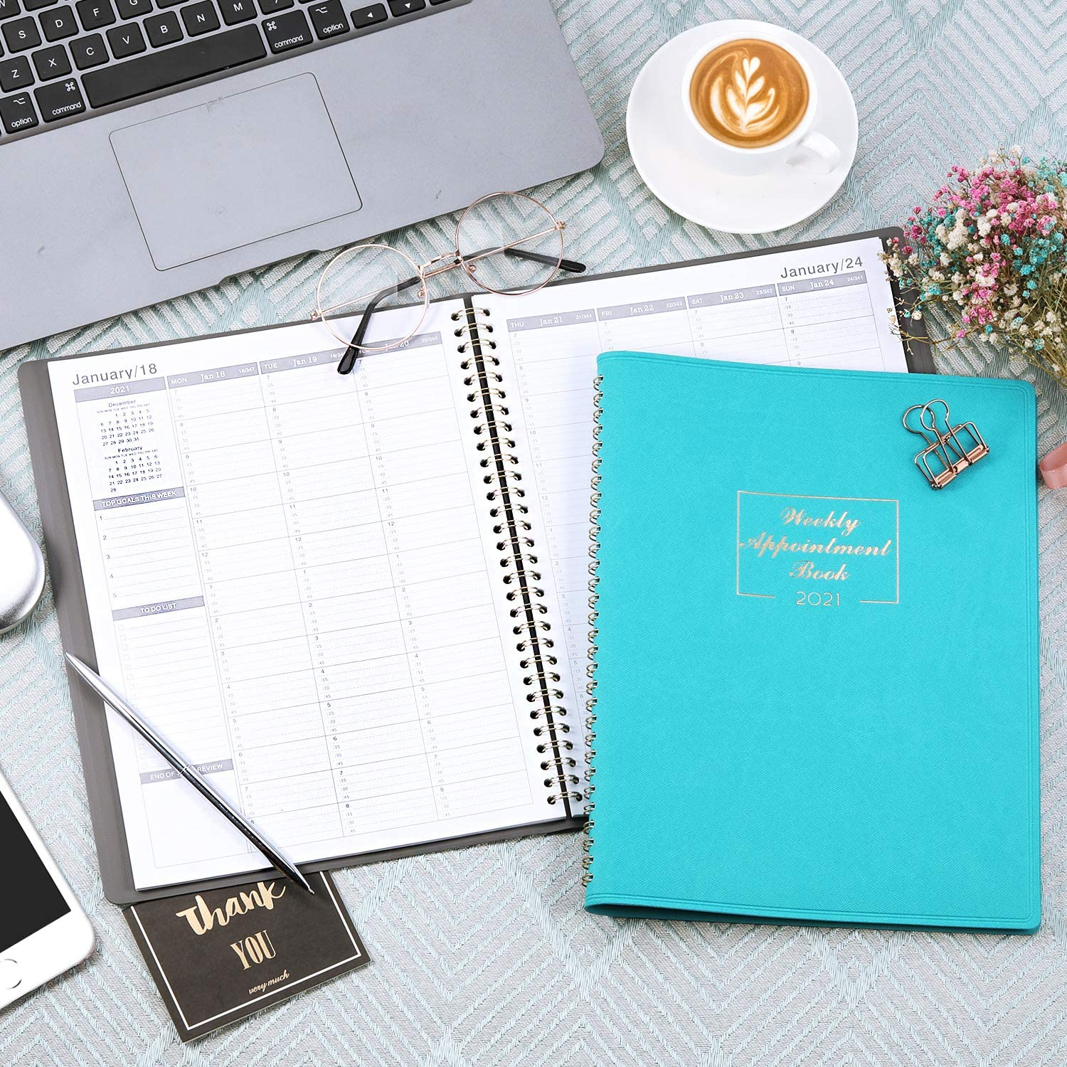 2021 Weekly Book /& Planner Daily Hourly Planner Interval Flexible Soft Cover ..