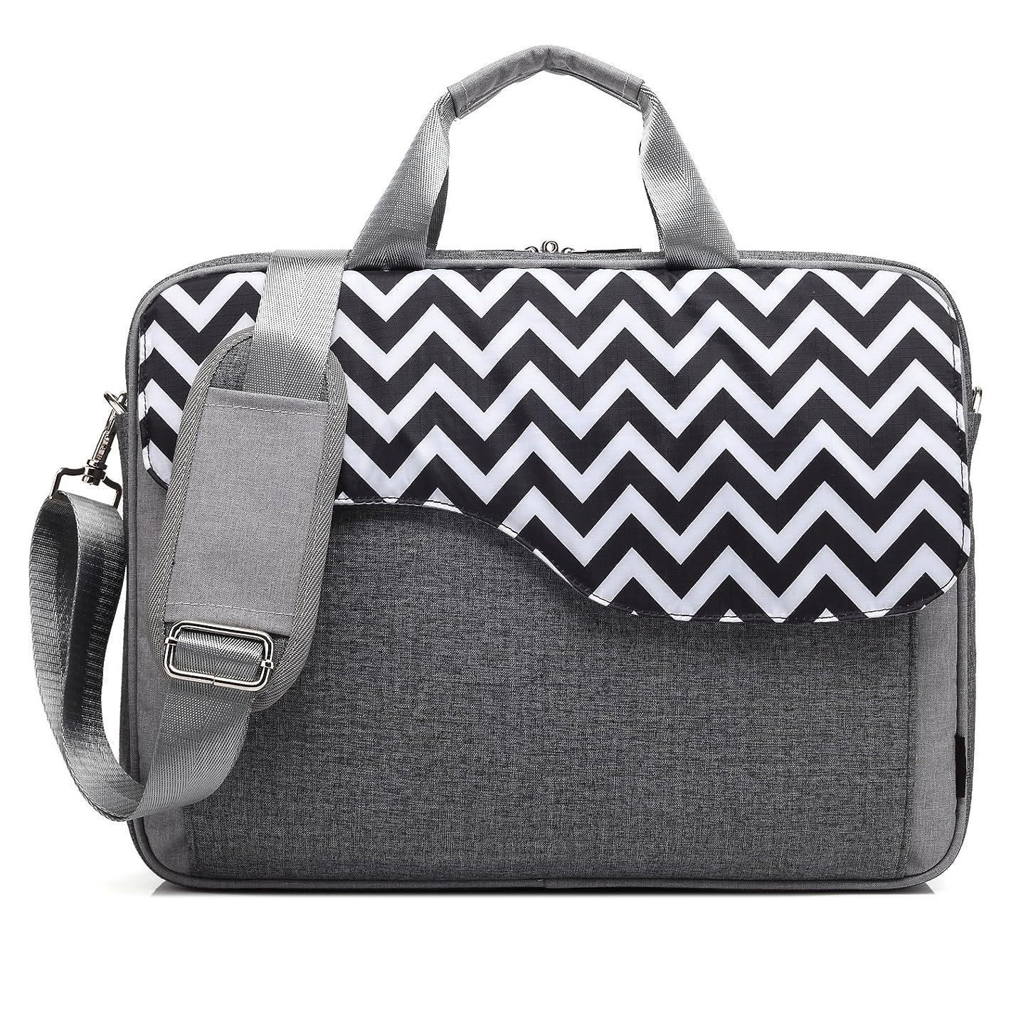CoolBELL 15.6 Inch Nylon Laptop Bag Shoulder Bag with Strap Multicompartment Messenger Hand Bag Tablet Briefcase for iPad Pro/Laptop / MacBook/Ultrabook / Men/Women / College (Grey Wave)