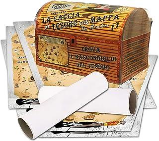 Caccia al tesoro con mappa in scatola per casa 8-10 anni - per feste di compleanno - giochi per bambini