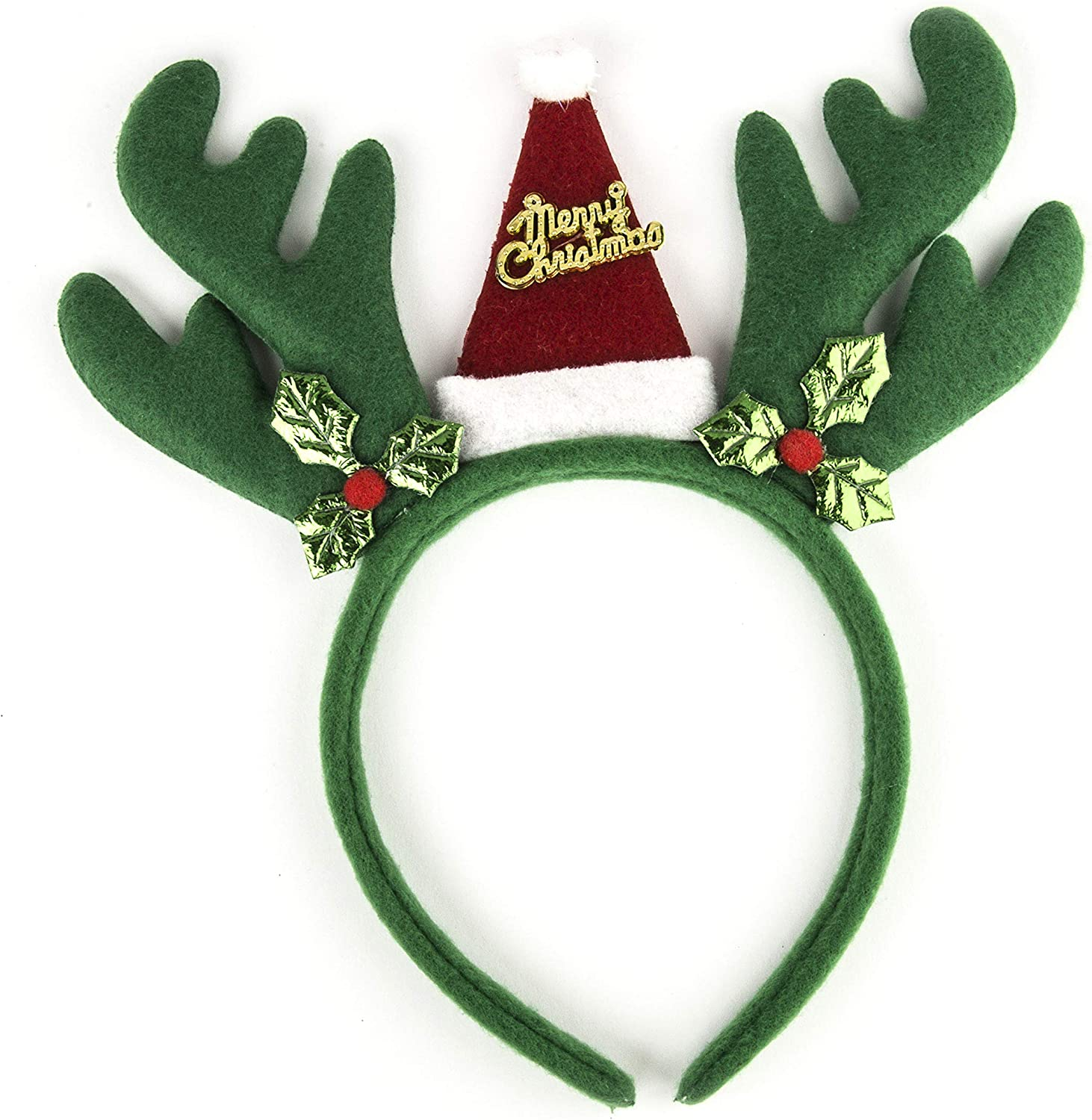 Lux Accessories Antlers Merry Christmas Hat Costume Fashion Headband