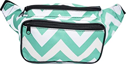 SoJourner Fanny Pack Waist Bag - Chevron Festival Packs for men, women | Cute Fashion Belt Bum Bags (teal)