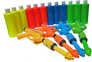 Birthday Party - Paint Party Paint Squirt Guns (4 Guns & 12 neon Glow Paint Party 16oz Bottles) ASST #BOYG