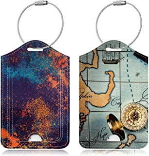 Famavala 2X Luggage Tags [Labels w/Privacy Cover] for Travel Bag Suitcase, MapSea+CoClor (Blue) - FML289