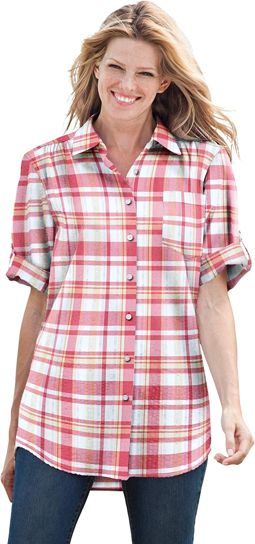Woman Within Women's Plus Size Short Sleeve Button Down Seersucker Shirt