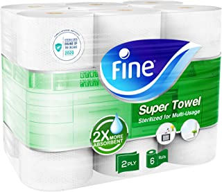 Fine, Paper Towel – Super Towel, Sterilized, 60 sheets x 2 Ply, pack of 6 rolls