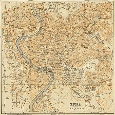Roma Cartina Turistica Da Stampare.Feeling At Home Stampa Artistica X Cornice Mappa Di Roma 1898 Cm60x60 Amazon It Casa E Cucina