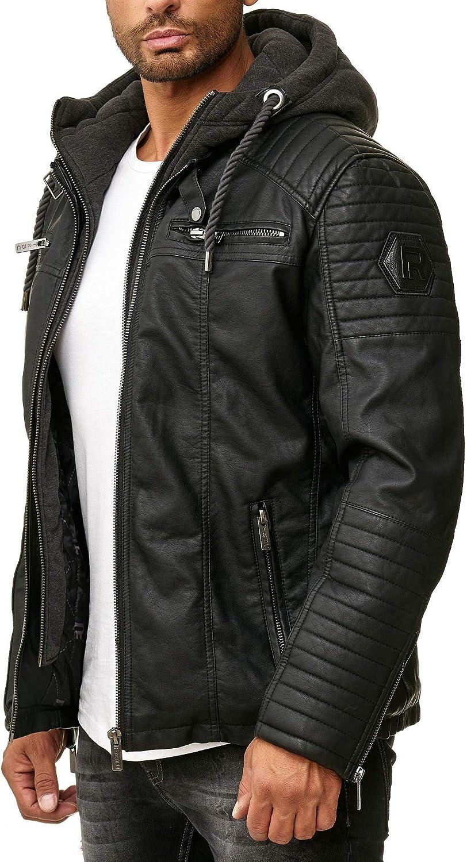 Areena Design Men's Real Leather Jacket Transition Biker Jacket with Hooded Modern M 106