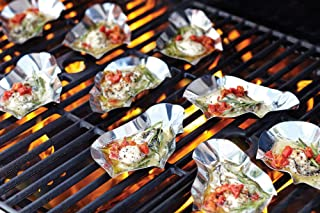 Outset 76471 Stainless Steel Grillable Oyster Shells, Set of 12, Silver