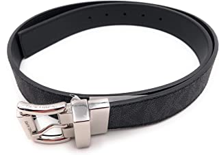 Michael Kors Womens Reversible MK Logo Silver Buckle Black Belt Large