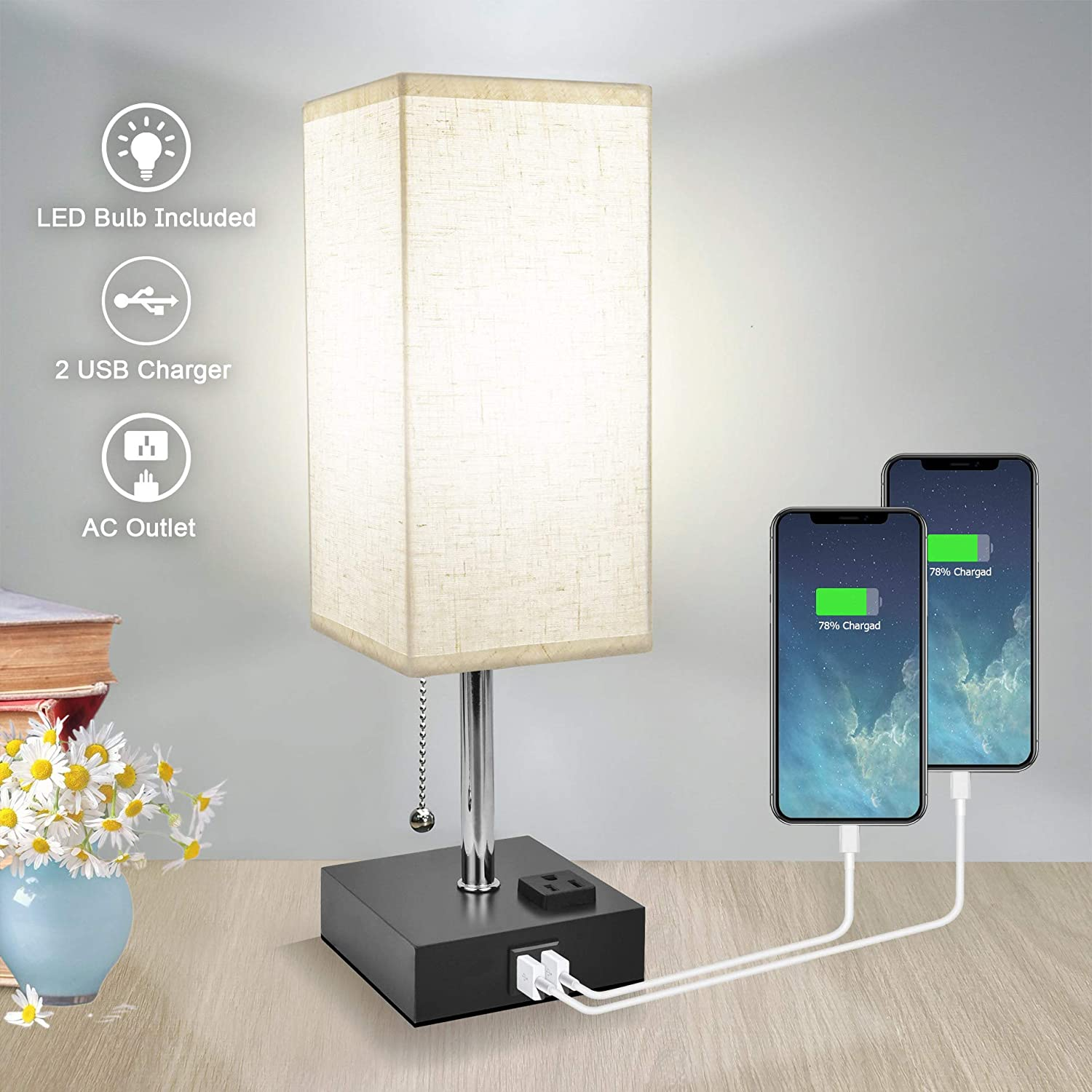 Bedside Table Lamp Nightstand for Rapid rise Bedroom Daylight with National products Co