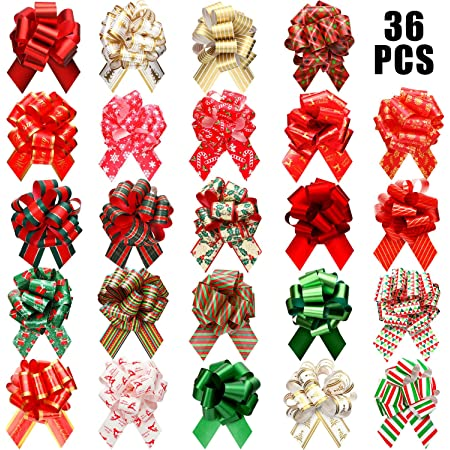 36 Pieces Wide Present Pull Bows Wrap Pull Bows Assorted Pull Bows for Christmas Wedding Valentine's Day Present Wrapping Decoration, 24 Styles