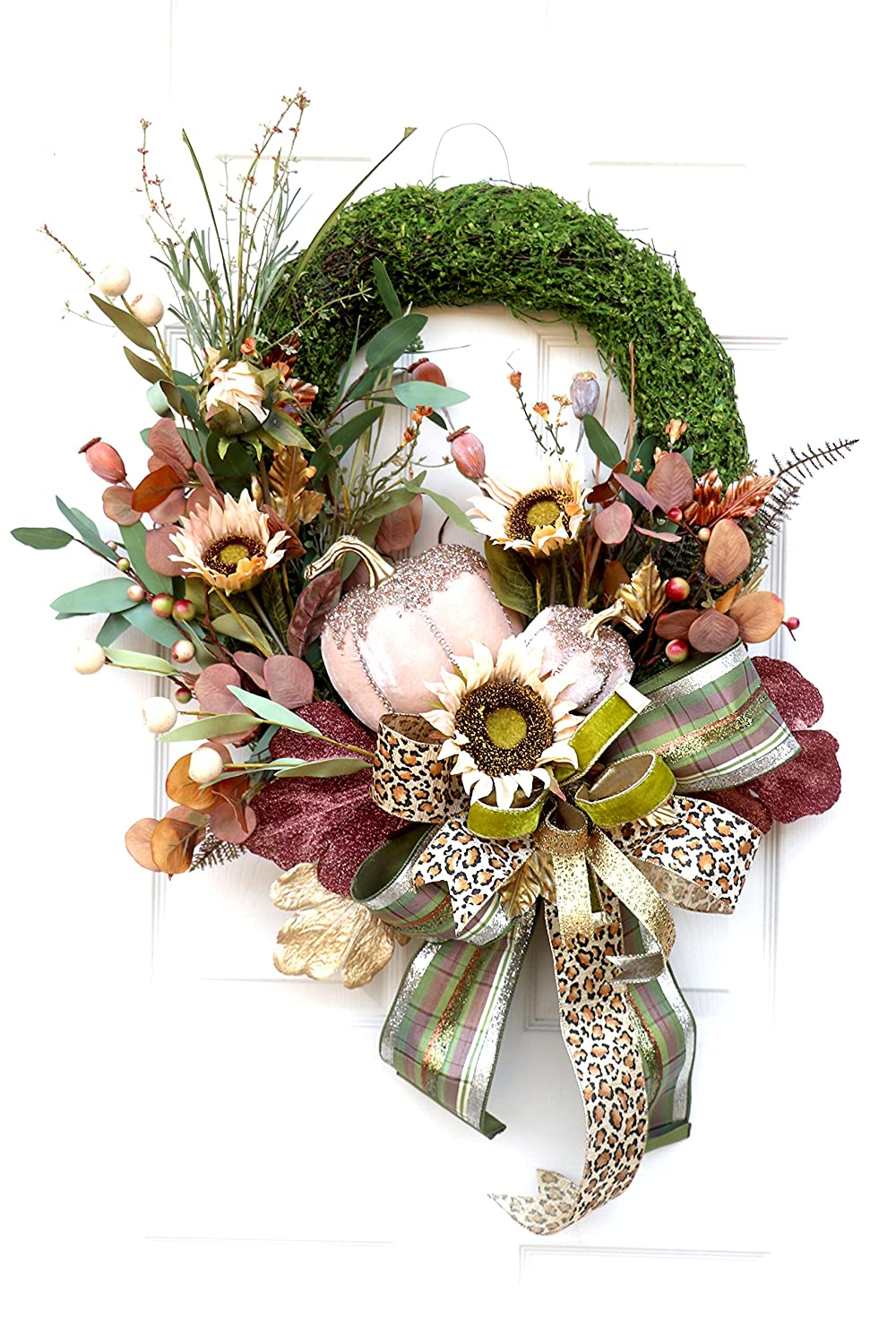Fall wreath for front door Glitz natural glam gift wre and with Under blast sales moss