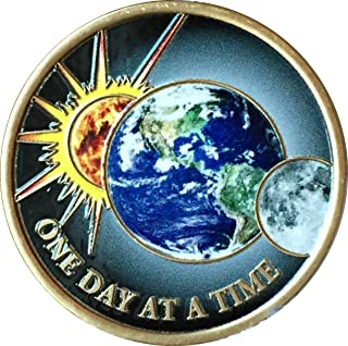 One Day At A Time Universe Sun Moon Earth Medallion Color Serenity Prayer Chip by RecoveryChip