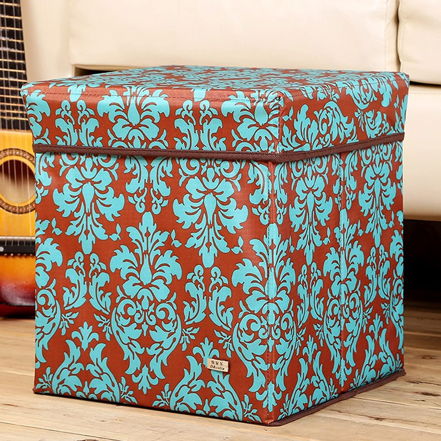 Oxford Cloth Storage Stool, Printed Covered Storage Box, shoes Bench, Folding Storage Box, Storage Box (color   B)