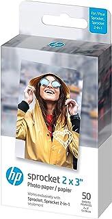 HP Sprocket Premium zink fotopapier met zelfklevende achterkant, 2x7,6 cm (50 vellen) compatibel met HP Sprocket fotoprinters