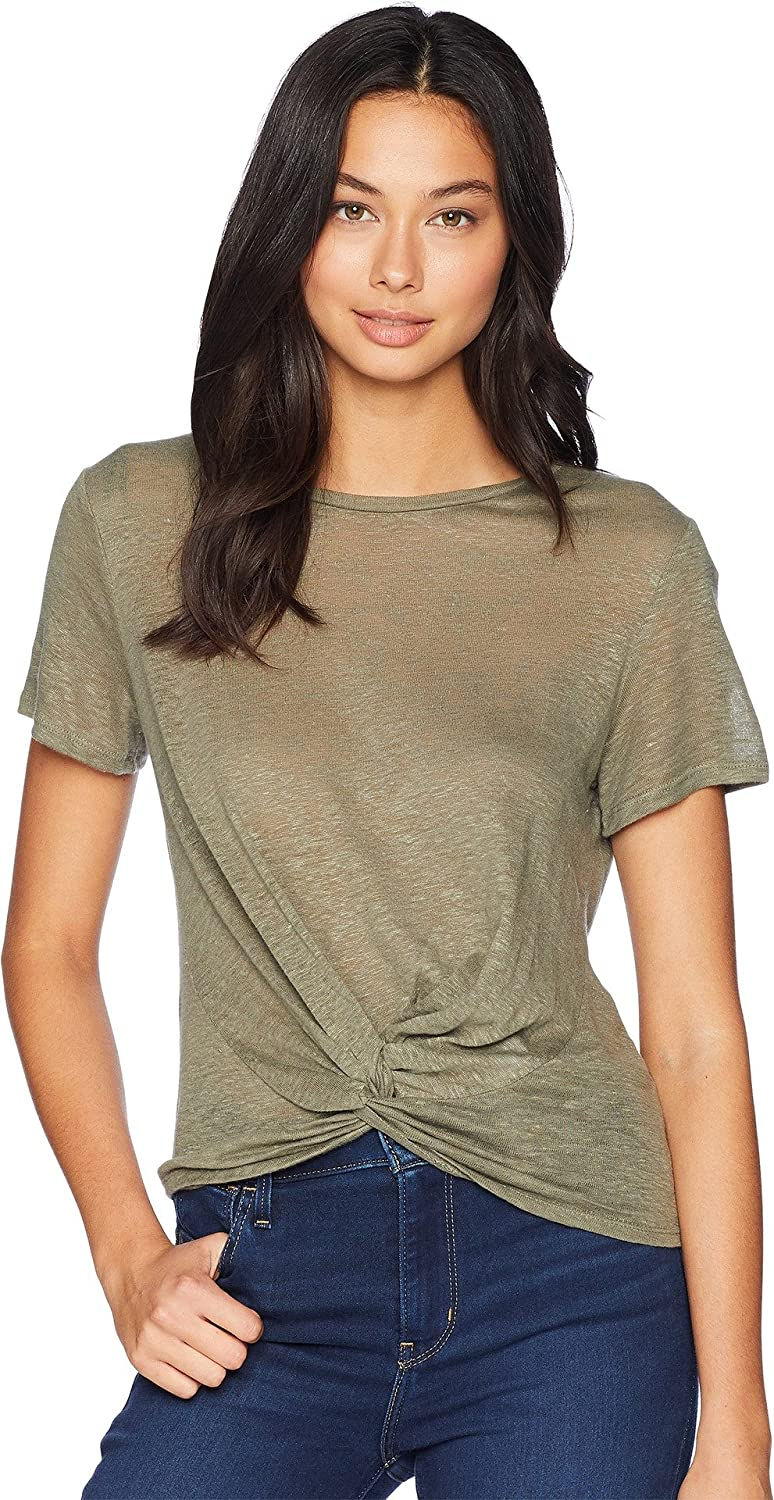 1.STATE Women's Short Sleeve Twist Front Linen Tee
