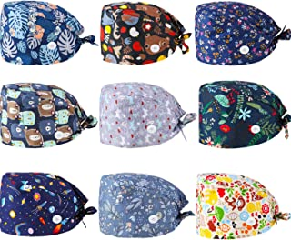 SATINIOR 9 Pieces Bouffant Hat with Button Adjustable Tie Back Hats Printed Caps Hair Cover for Women Men