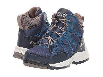 Jack Wolfskin Kids Thunderbolt Texapore Mid (Toddler/Little Kid/Big Kid) (Blue/Phantom) Boys Shoes
