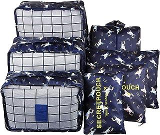 Himito トラベルポーチ 収納ポーチ アレンジケース 旅行便利グッズ 8点セット 大容量 旅行 出張 衣類収納 化粧品 靴バッグ 巾着袋 整理用 軽量 防水