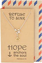 Quan Jewelry New Anchor Necklace, Sailor Pendant with Mini Heart Charm, Seaman Lariat Necklace, Sea Anchor Inspirational Quote on Greeting Card